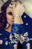 Royal Blue Embroidered Georgette Churidar Suit - Saira's Boutique - 3