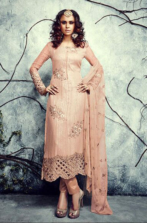 Peach Embroidered Georgette Churidar Suit - Saira's Boutique - 1