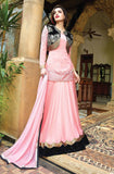 Pink & Black Floor Length Anarkali Suit-Saira's Boutique