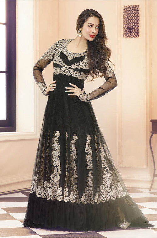 Black Net Designer Floor Length Anarkali Suit - Saira's Boutique