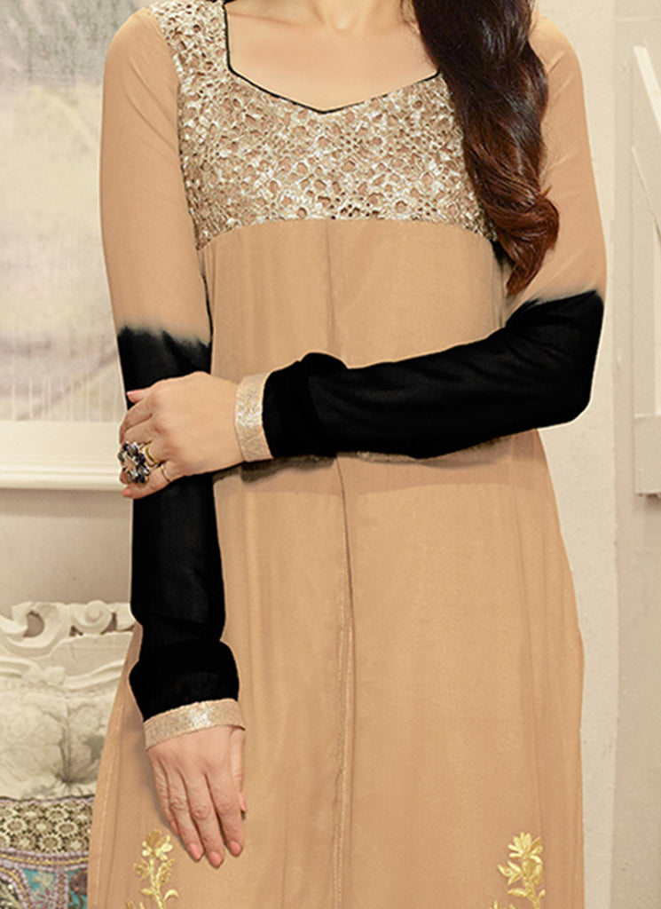 Karishma Beige Georgette Churidar Suit-Saira's Boutique