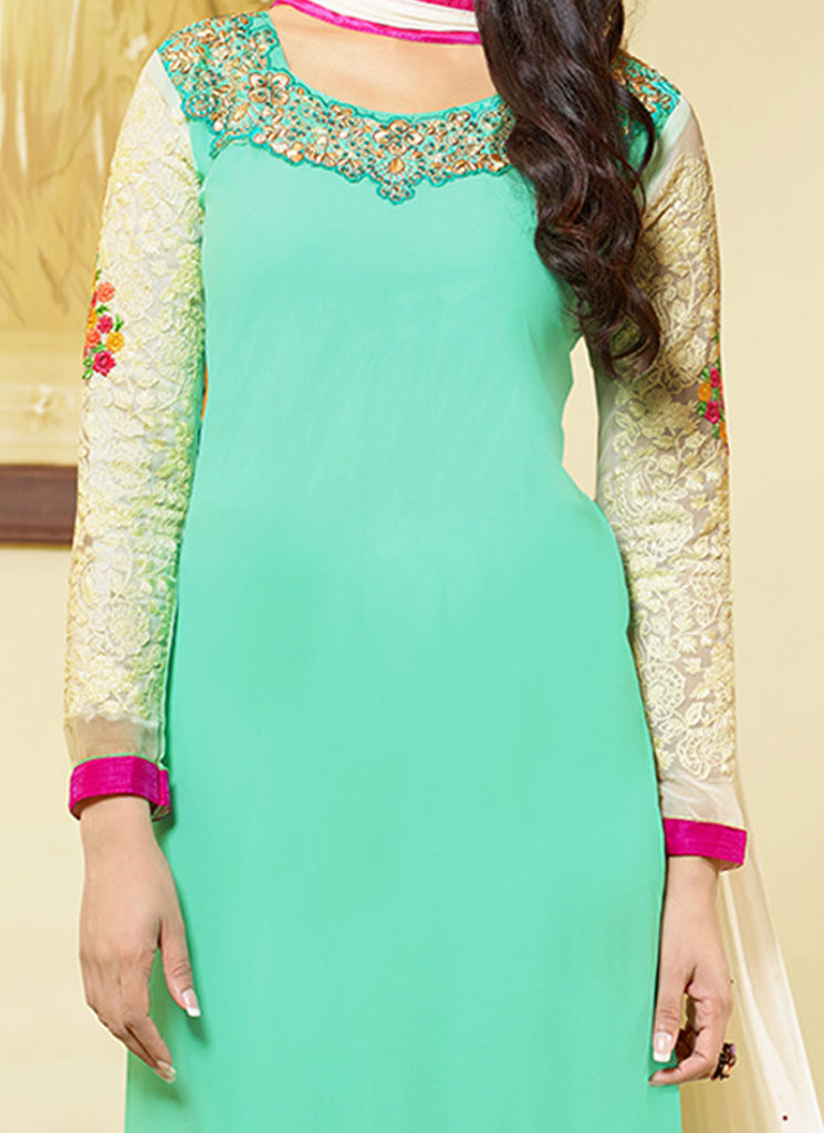 Green Georgette Embroidered Churidar Suit-Saira's Boutique