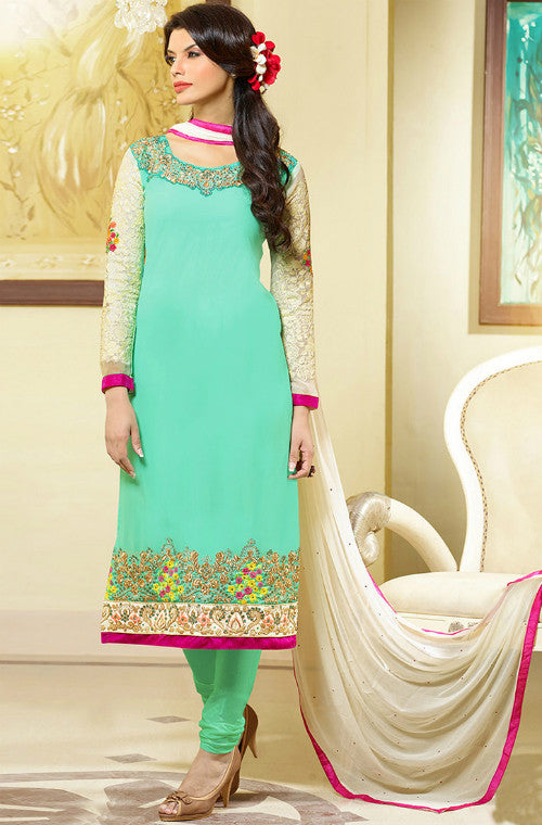 Green Georgette Embroidered Churidar Suit - Saira's Boutique