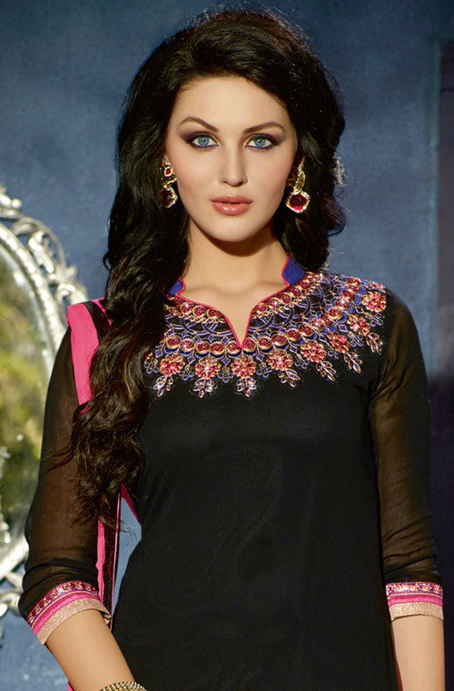 Black & Pink Designer Georgette Patiala Suit - Saira's Boutique - 2