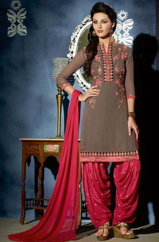 Black & Pink Designer Embroidered Georgette Churidar Suit