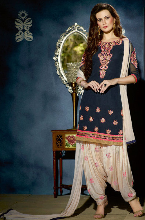 Navy Blue & Off White Designer Georgette Patiala Suit-Saira's Boutique