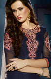 Navy Blue & Off White Designer Georgette Patiala Suit - Saira's Boutique - 2