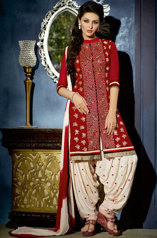 Red & Off White Designer Georgette Patiala Suit - Saira's Boutique - 1