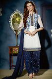 White & Navy Blue Designer Georgette Patiala Suit-Saira's Boutique