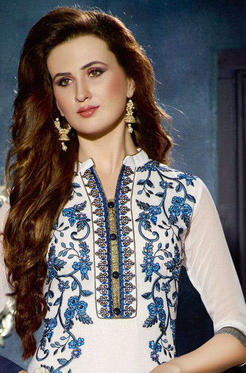 White & Navy Blue Designer Georgette Patiala Suit - Saira's Boutique - 2