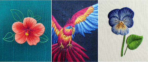 hibiscus, parrot and pansy in silk shading embroidery