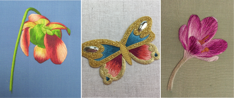pitcher plant lure, butterfly and crocus in silk shading embroidery