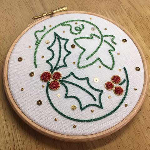 'The Holly and the Ivy' Goldwork Embroidery Kit