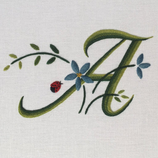 'Floral Monogram' Crewel Work Embroidery Kit