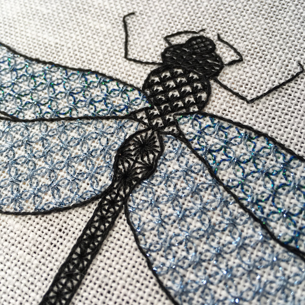 Blackwork Dragonfly Close Up