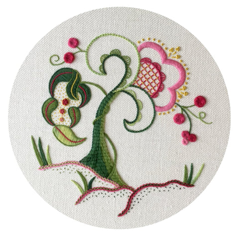 'Budding Beauty' Jacobean Crewel Work Embroidery Kit