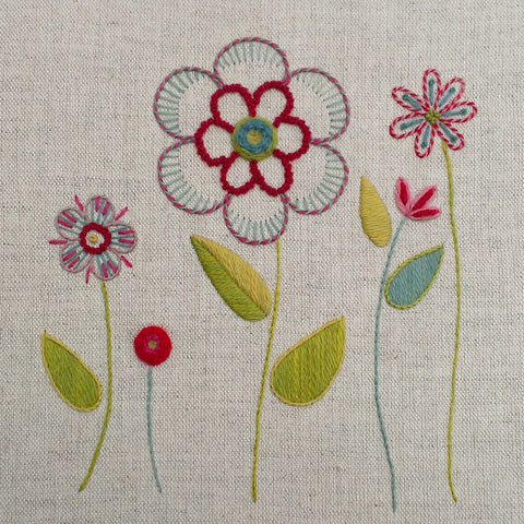 'Flower Garden' Crewel Work Embroidery Kit