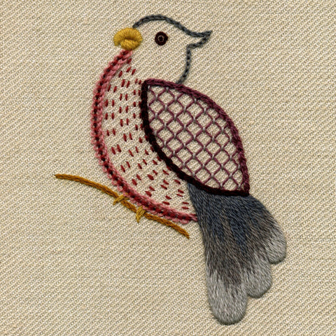 'Little Bird' Jacobean Crewel Work Embroidery Kit