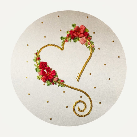 'Loveheart' Silk Ribbon & Goldwork Embroidery Kit