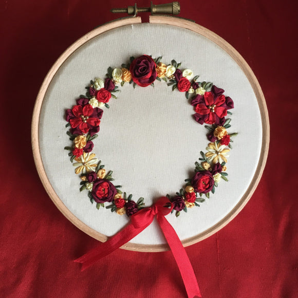 'Christmas Wreath' Silk Ribbon Embroidery Kit