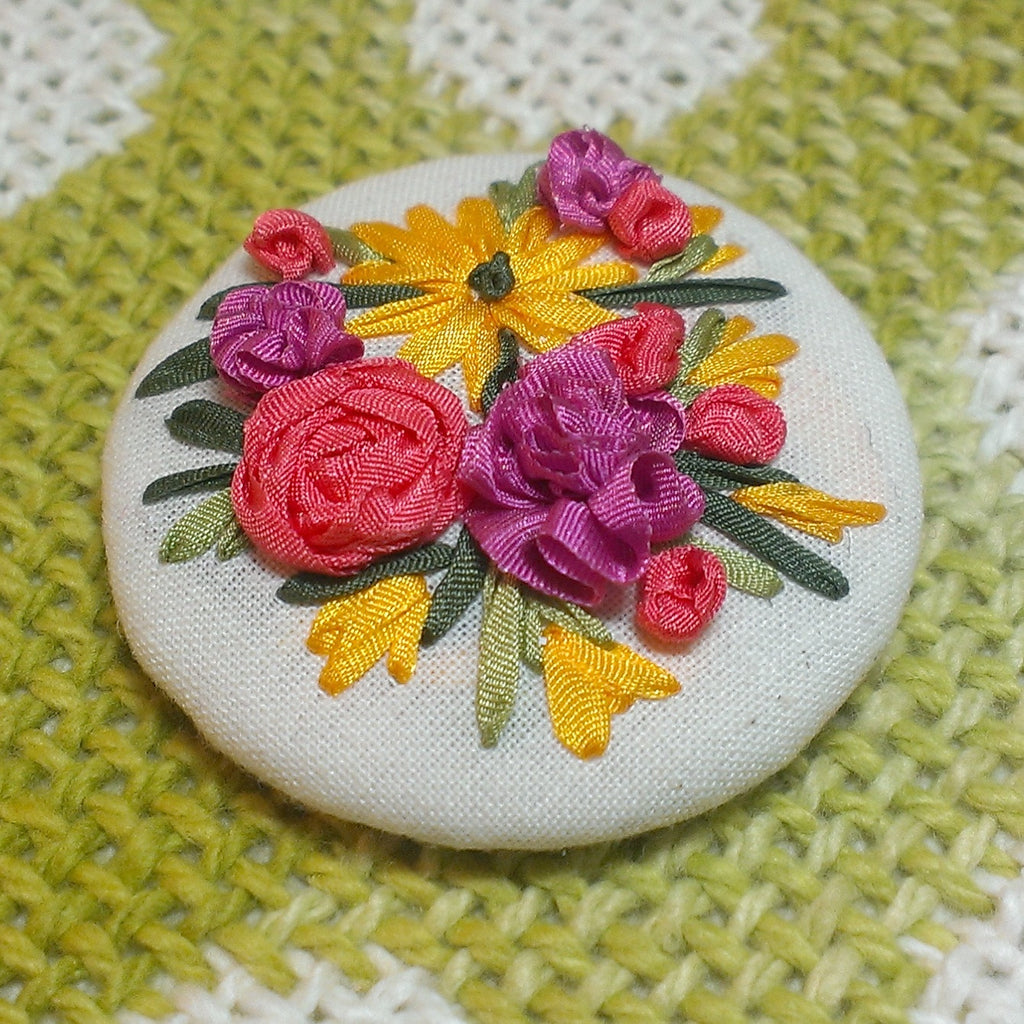 Floral brooch silk ribbon embroidery kit laurelin