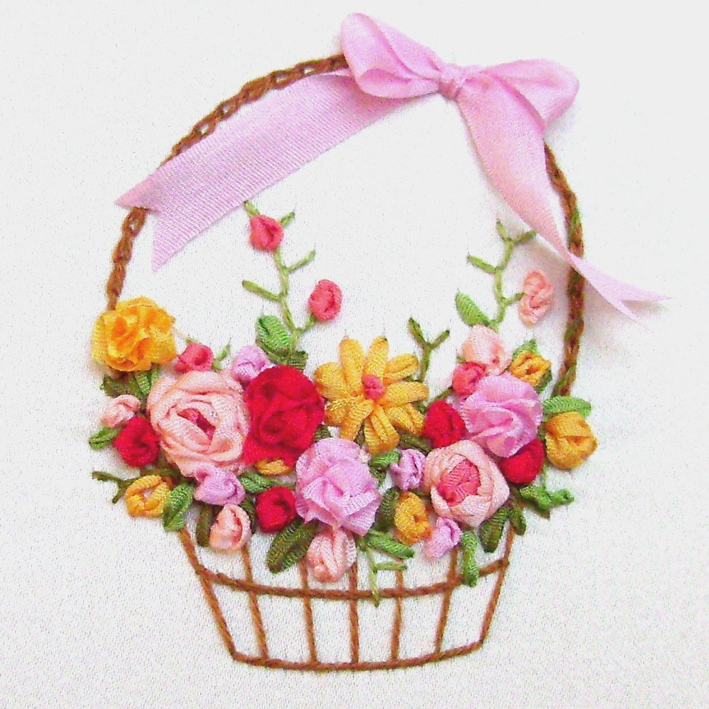 Flower basket silk ribbon embroidery kit laurelin