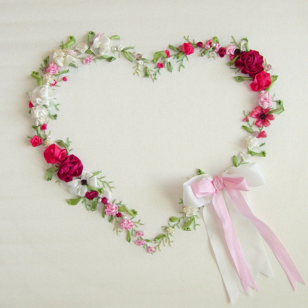 Love heart silk ribbon embroidery kit laurelin