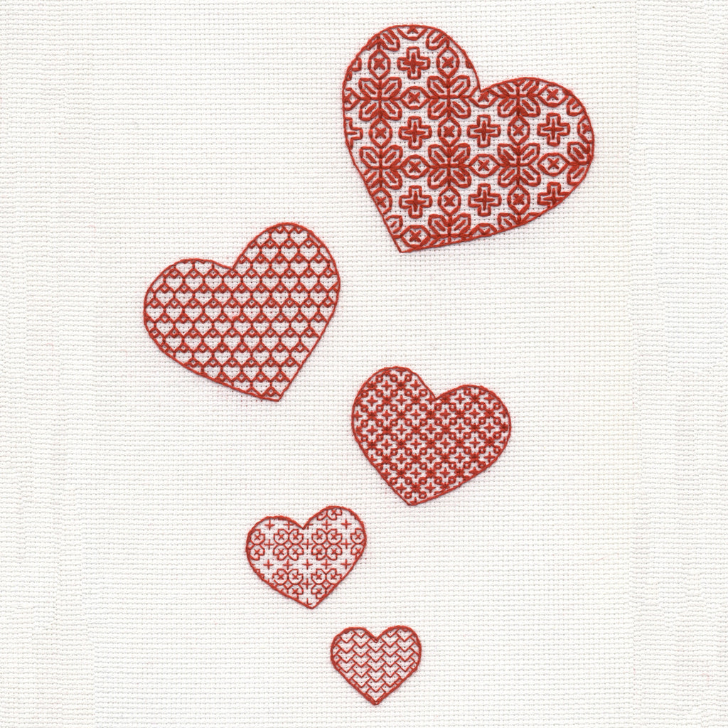 'Lovehearts' Scarletwork Embroidery Kit