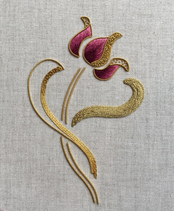 'Tulip' Silk Shading & Goldwork Online Embroidery Class - April 2021