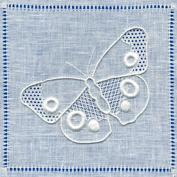 'Peacock Butterfly' Whitework Embroidery Kit