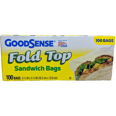 GoodSense 100 Count Fold Top Sandwich Bag - American Food Service