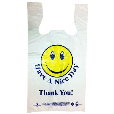 1/8 T-Sack Medium 'Smiley Face' White Plastic Bag - American Food Service