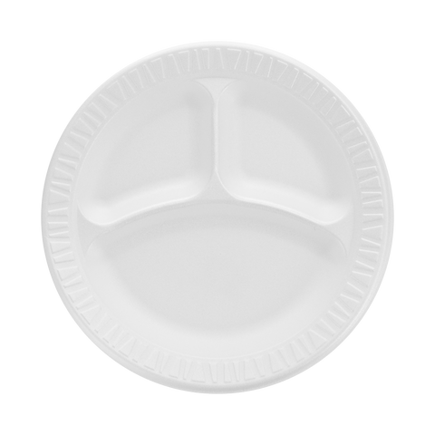 9'' 3 Section  Foam Plate 4/125 Ct. - American Food Service