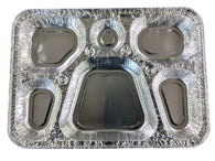 AFSD 6 Compartment Aluminum Serving Tray - American Food Service