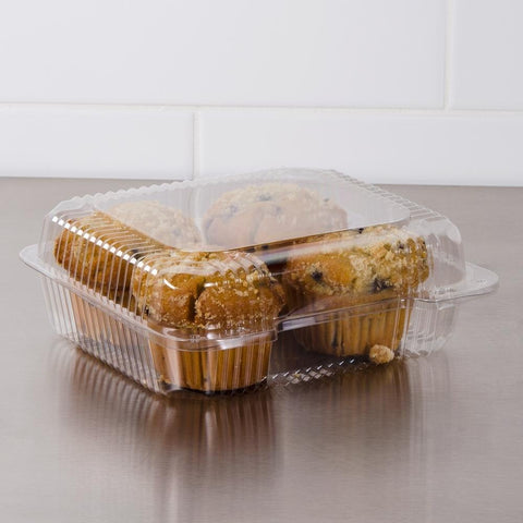 8 1/4'' Clear Hinged Stay lock Plastic Container - American Food Service
