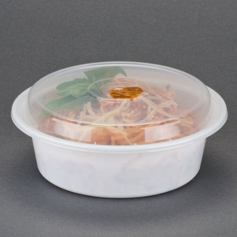 NC-729 32oz White Base / W. Clear Lid - American Food Service