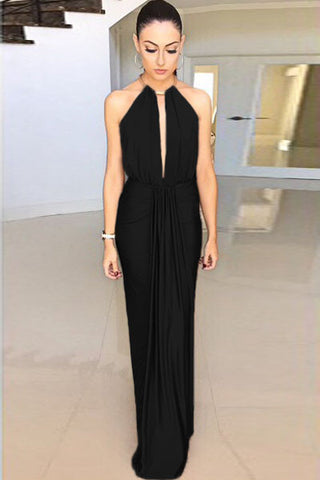 Black Silky Jewel Halter Evening Dress