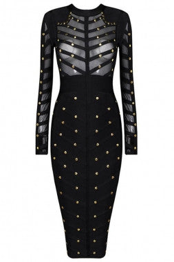bab4b0944f95d Gold studded black Celebrity Midi bandage Dress – De-Affordable luxury