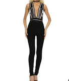 Sharon - embellished V-neck Bandage jumpsuit