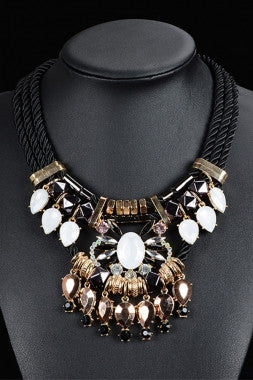 Luxury Crystal Gemstone Accent black Cord Necklace