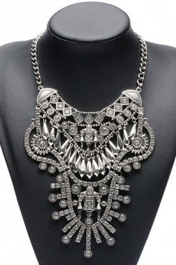 U Silver Fillgree Statement Rhinestone Necklace