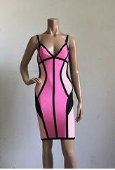 Pinkish Strappy Illusion Cut Bandage Dress
