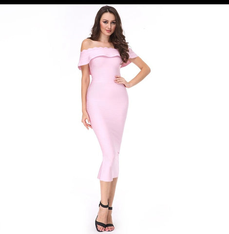 Cali Off Shoulder Bandage Midi
