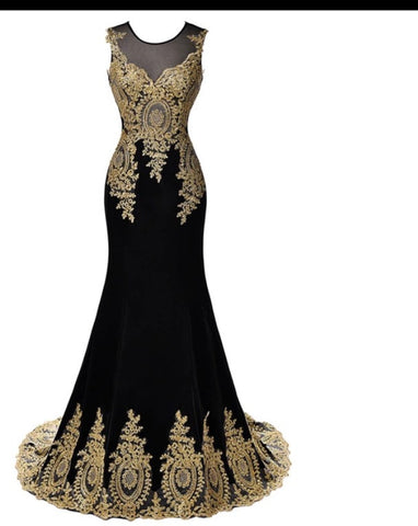 Dunia- Mermaid  party Dress with Gold Embroidery