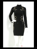 Nisal- turtle neck with gold metal dress