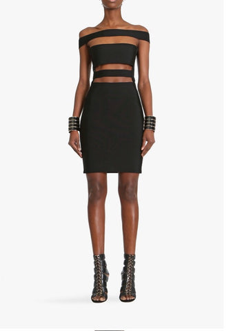 Kylie cut bandage dress- black