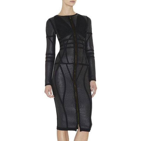 Black Angel- long sleeve bandage midi