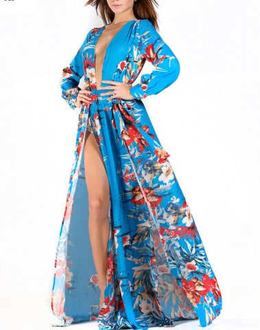 Rebecca - Sexy flower print beach slit dress