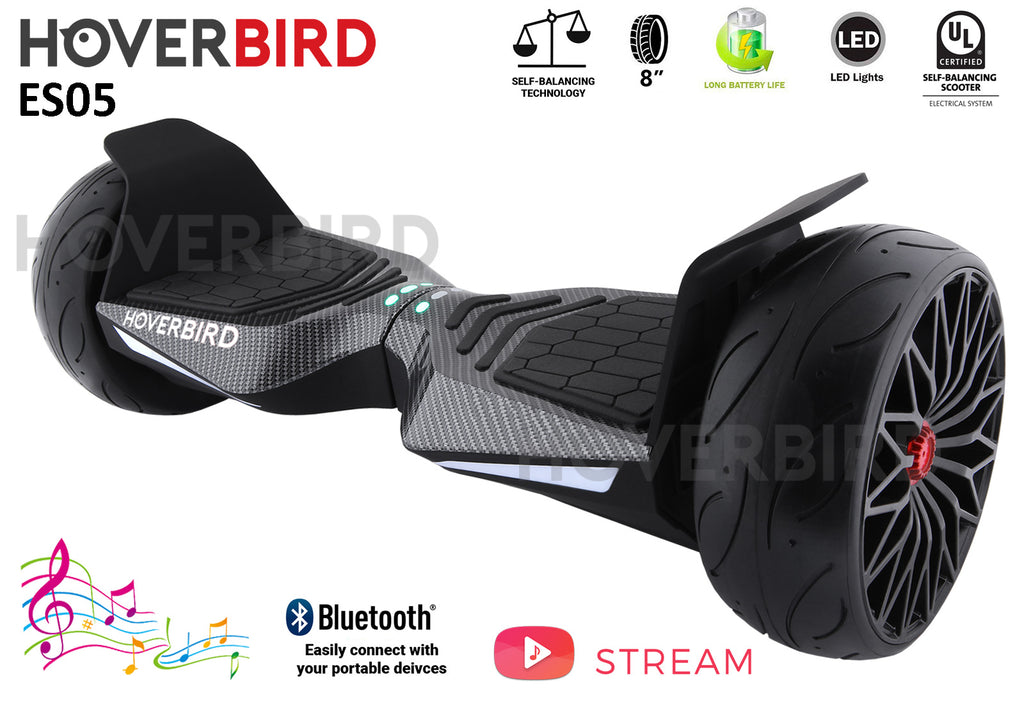 "HOVERBIRD Heavy Duty ES05 UL2272 Certified 600W - 8"" Tires - BLUETOOTH - Carbon Fiber Skin"