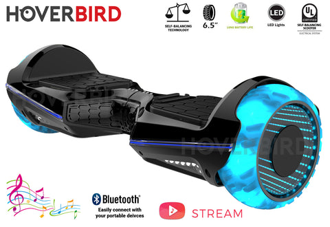 "HOVERBIRD Heavy Duty ES11 UL2272 Certified 500W - 6.5"" Tires - BLUETOOTH - LED WHEELS - Black"